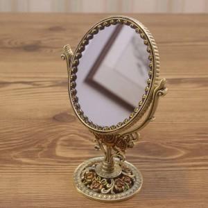 Espejo de vanidad retro europeo baño dormitorio bronce espejo de maquillaje creativo metal espejo decorativo de doble cara wx8230930