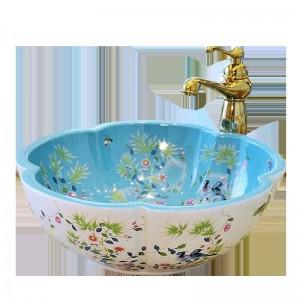 Estilo europeo Flor en forma de lavabo de arte Lavabos de baño lavabo de cerámica lavabo patrón de flores y aves