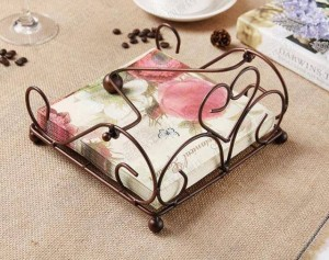 Toallero de papel de hierro de estilo europeo, cocina, comedor, servilletero de almacenamiento, nuevo toallero de papel retro de bronce