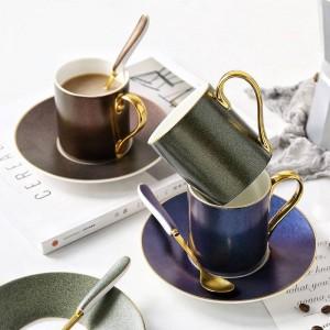 Juego de tazas de café de patrón de cielo estrellado de estilo europeo, taza de té de cerámica, cuchara de té de la tarde con regalos para el hogar