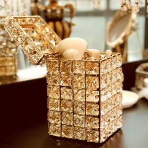 Tocador de cristal dorado de moda organizador de pincel de maquillaje sostenedor de pluma con tapa de ceja lápiz cuadrado caja de almacenamiento titular