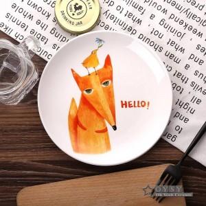 Estilo de moda 8 * pulgadas Dia Bone Placas planas de cerámica de dibujos animados patrón de porcelana vajilla ensalada Sushi Cake plato