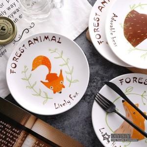 Estilo de moda 8 * pulgadas Dia Hueso Cerámica Arroz Platos Patrón de Dibujos Animados Porcelana Vajilla Ensalada Sushi Pastel plato