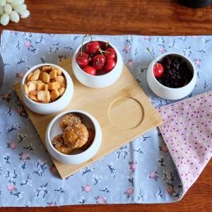 Juego de cinco piezas Bandejas de frutas Bandejas para servir Platos de cerámica creativos para bocadillos / Frutos secos / postres Bandeja de bambú natural Eco