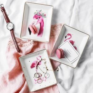 Flamingo Pattern Ceramics Storage Plate INS Minimalist Postre Jewelry Misceláneas Contenedor Decoración Escritorio Almacenamiento Organizador para el hogar
