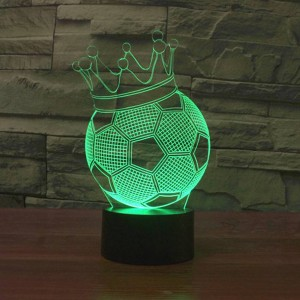 Football Crown 3D LED Luces nocturnas creativas 7 colores Cambio de deco de vacaciones Lámpara de ilusión USB Lámpara de mesita de noche de acrílico para niños
