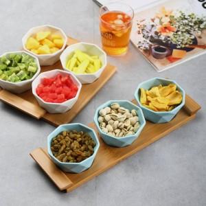 Juego de cuatro / cinco piezas Bandejas para servir platos de frutas Platos creativos de cerámica para bocadillos / nueces / postres Bandeja de bambú ecológico