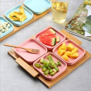 Plato de frutas moderno salón hogar Cerámica creativo plato de frutos secos boda caja de dulces plato de nueces plato de aperitivos bandeja de madera