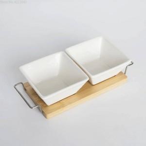 conjunto completo de cerámica de bambú Postres tazón bandeja plato de aperitivos tazón de fruta plato plato vajilla bandeja de desayuno cocina hogar suministros