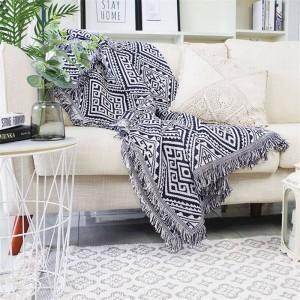 Geometría Laberinto Cobertor Sofá Funda decorativa Cobertor Decoraciones de Navidad Inicio antideslizante Costura Mantas de tela escocesa