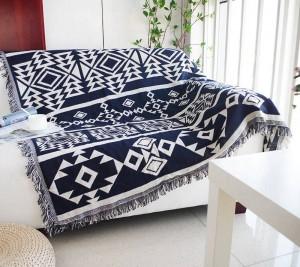 Manta de tiro de geometría Sofá azul decorativo Bohemia Funda Cobertor en sofá / Camas / Avión de viaje Mantas de costura antideslizantes