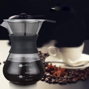 Glass Express Drip Cafetera portátil Hervidor de agua Máquina de espresso con filtro de acero inoxidable Barista Jarra Percolador