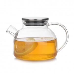 Juego de té de alta resistencia al calor, de borosilicato, taza de tetera de vidrio Juego de té de protección contra explosiones y seguridad contra el calor con una mano cómoda