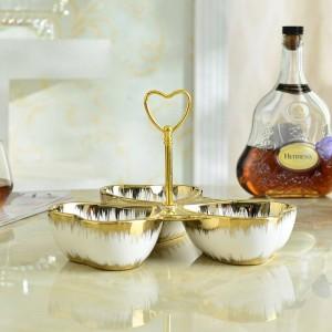 Plato de fruta de cerámica de oro Plato europeo de fruta seca Platos de merienda Platos de dulces Platos de frutas de cerámica