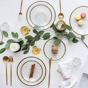 Tazones con incrustaciones de oro Platos Platos de comida Platos para la cena Platos de bistec Novedad Plato de vidrio resistente al calor