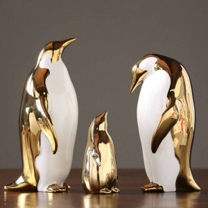 Pingüino de cerámica de oro Adornos Casa Modelo Sala de estar Tv Gabinete Vino Gabinete Decoración de la Oficina Regalos