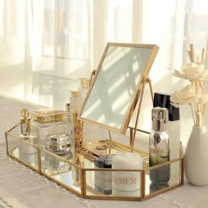 Espejo de vestir dorado Espejo de princesa Espejo de belleza rojo neto para enviar un regalo de novia