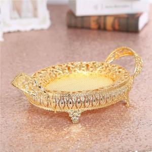 Bandeja retra del metal de la placa del caramelo de la caja de oro de la fruta, placa de metal hueco para casarse la fiesta de cumpleaños de la decoración