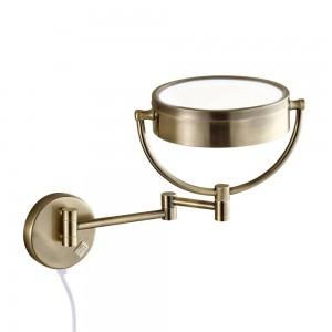 Espejo de maquillaje iluminado de vanidad iluminado 10X luces led extendido plegado espejos de montaje en pared de baño de doble cara