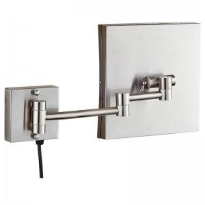 Espejo de maquillaje iluminado de tocador con luces led y aumento de 3x, baño de afeitado cuadrado para baño, níquel