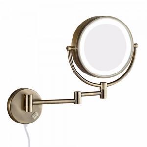 Espejo de maquillaje para pared de baño con luces led y espejo de afeitar plegable con brazo extensible doble de aumento 10X Antiguo de doble cara