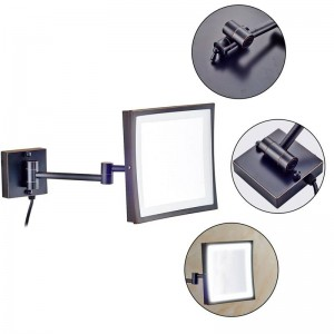 Espejo giratorio de maquillaje Hotel 360 con 50 luces LED y espejo cuadrado con lupa 3X con brazos de espejo plegables dobles