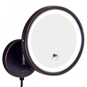 Espejo de maquillaje iluminado por vanidad del baño 10X del hotel, espejos redondos montados en la pared con lupa 7X / 5X / 3x