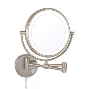 Espejos de maquillaje con aumento de luz LED Espejos de afeitar plegables giratorios de doble cara con luces led Níquel