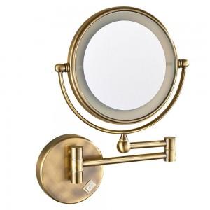 Espejo de maquillaje iluminado LED para pared de tocador con aumento 7X, bronce antiguo pulido, enchufe eléctrico, 360 espejos girados