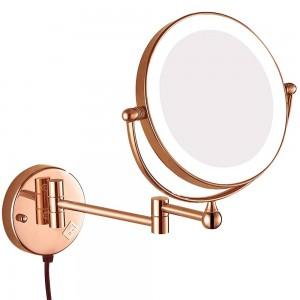 Espejo extensible iluminado con espejo eléctrico, montaje en la pared, espejo de maquillaje, espejo giratorio, enchufe eléctrico, lupa 10x 7x