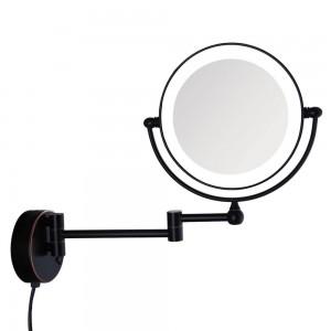 Espejo de maquillaje de baño iluminado con baño de pared de bronce con baño de aceite con enchufe eléctrico de ampliación 7X, brazos extendidos