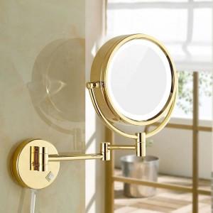 """Espejos para maquillarse con luces LED y espejos de oro iluminados de vanidad para baño montados en la pared con aumento 10x / 1X 8.5 """""""