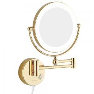 "Espejos de maquillaje para baño de montaje en pared con luces LED y espejo de afeitado con aumento de 7x Oro giratorio extendido de doble cara 8 """