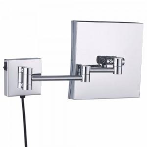 Baño de aumento montado en la pared Espejo de maquillaje iluminado con luz LED Espejo de afeitar extensible cuadrado enmarcado Cromo