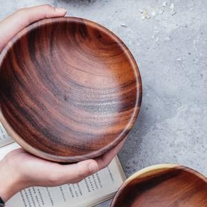Hecho a mano Sólido Tazón de fuente de madera Sólido Grande Pequeño Redondo Cuencos de madera Ensalada Sopa Comedor Sirviendo Platos Plato Cocina de madera Utensilios Vajilla