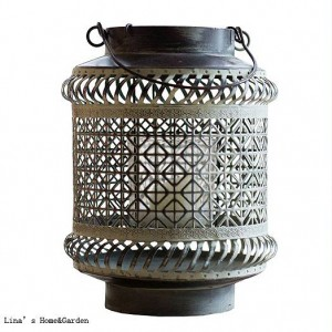 Artesanía Marrón Blanco Vintage Retro Perforado Metal Hurricane Candle Lantern