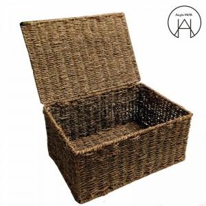 Cesto de mimbre hecho a mano Canasta de almacenamiento con tapa Acabado de bambú Cajas de almacenamiento Almacenaje de ropa Caja no deformada A prueba de humedad