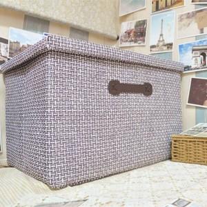 Caja de almacenamiento plegable de paja hecha a mano gran paño cubierto caja de almacenamiento cajón clasificación ropa Juguetes Cesta de almacenamiento 51cm * 48cm * 31cm