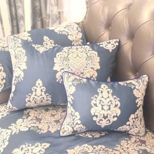 HAO JOY Nuevo Royal Blue Euro Lujo Charm Jacquard Funda de cojín Decoración para el Hogar Flores Cuadradas Todos coincidir Funda de almohada