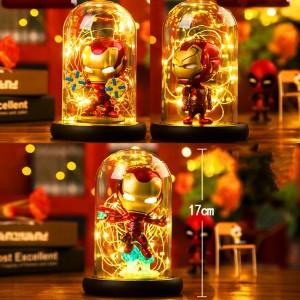 Hero Spider LED Lámpara de mesa Marvel Super Iron Man Hulk Deadpool Lámpara LED Luz de noche Multicolor Decoración navideña Niños Regalo Juguetes