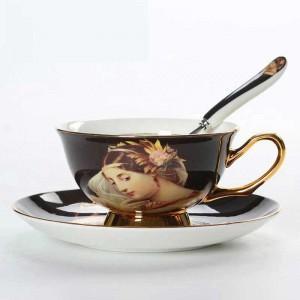 Tazas de café de porcelana de hueso de alta calidad Tazas de cerámica vintage Tazas y platillos de té avanzados glaseados Conjuntos Regalos de lujo