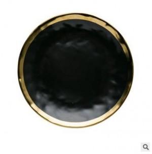 Serie de oro negro de alta calidad Cerámica mate chapada en oro Plato de filete occidental Plato creativo Plato Plato de fruta