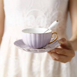Alta calidad Bone Taza de café Phnom Penh Europea Té de la tarde pastoral Té de cerámica Taza de té negro Plato Cuchara Taza Británica