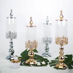 De alto grado Base de Metal Europea Caramelo tarro postre de la boda decoración de la mesa Cubiertas De Vidrio latas merienda galletas Tanque de almacenamiento