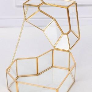 Caja de almacenamiento de joyería de cristal casa de forma de corazón de alto grado Artesanía regalo decoración maquillaje organizador
