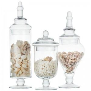 Botella de almacenamiento de vidrio de tarro de caramelo de alta calidad tanque de almacenamiento transparente conjunto de decoración de boda tapa de mesa botellas de contenedor de alimentos