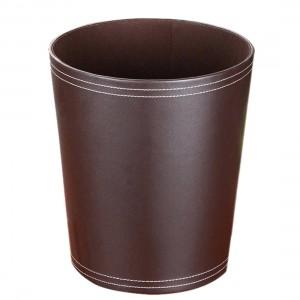 Forma redonda de alta calidad Color sólido PU Papelera Papelera Cesta de basura Papelera Papelera Tenedor de basura Contenedor de basura Basurero