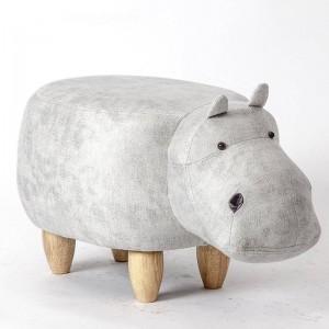 Hipopótamo Animal Otomano Almacenamiento Reposapiés Taburete Tapizado Asiento acolchado Taburete de hipopótamo Puf Banco adorable como regalo para niños, Caja de juguetes