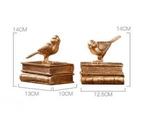 Accesorios para la decoración del hogar Bookend moderno Libro Stop Fairy Garden Vintage Home Decor Gold Bird Miniature Garden Paris