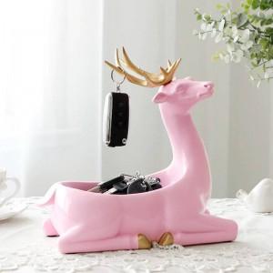Accesorios de decoración del hogar modernos para el hogar Caja de almacenamiento del teléfono de la llave del escritorio para los ornamentos de la sala de estar Ciervos Figuras Regalos